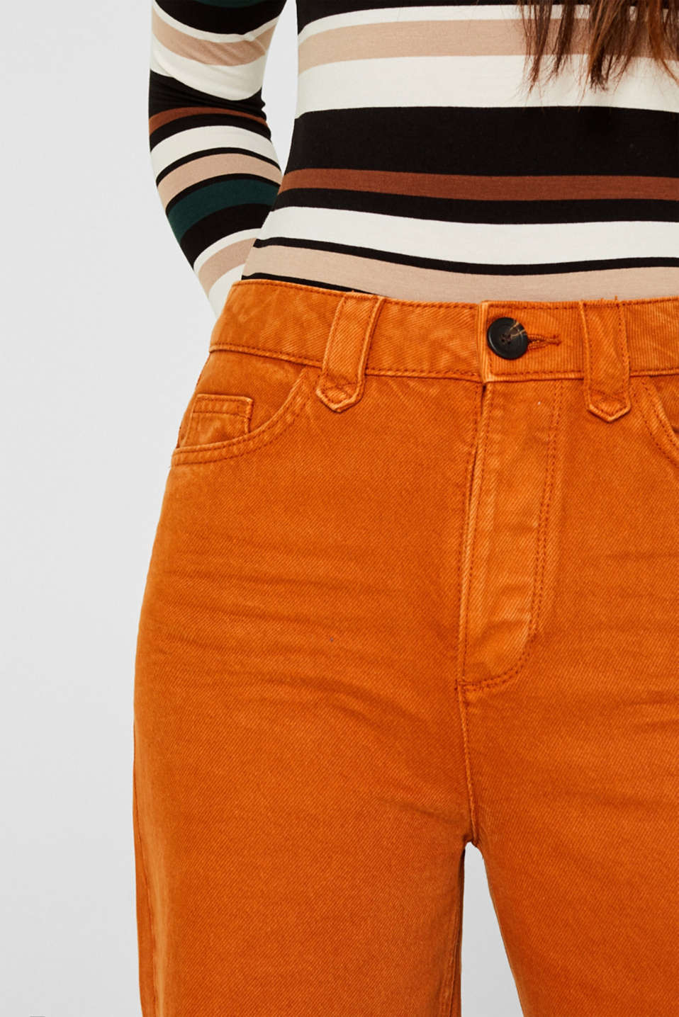Wide trousers made of blended cotton, CINNAMON, detail image number 2