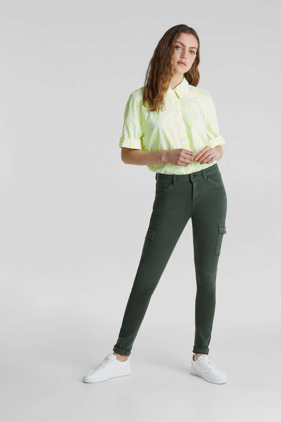 Stretch trousers with cargo pockets, DARK KHAKI, detail image number 1