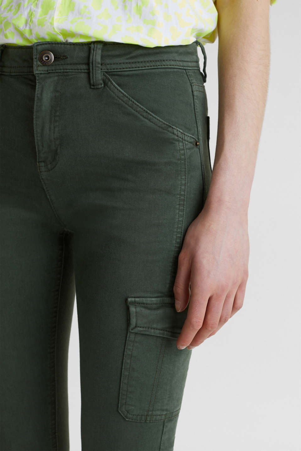 Stretch trousers with cargo pockets, DARK KHAKI, detail image number 2