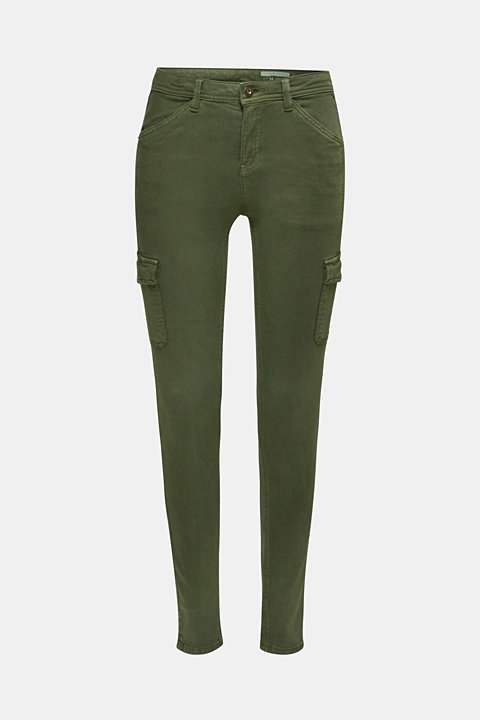 Stretch trousers with cargo pockets