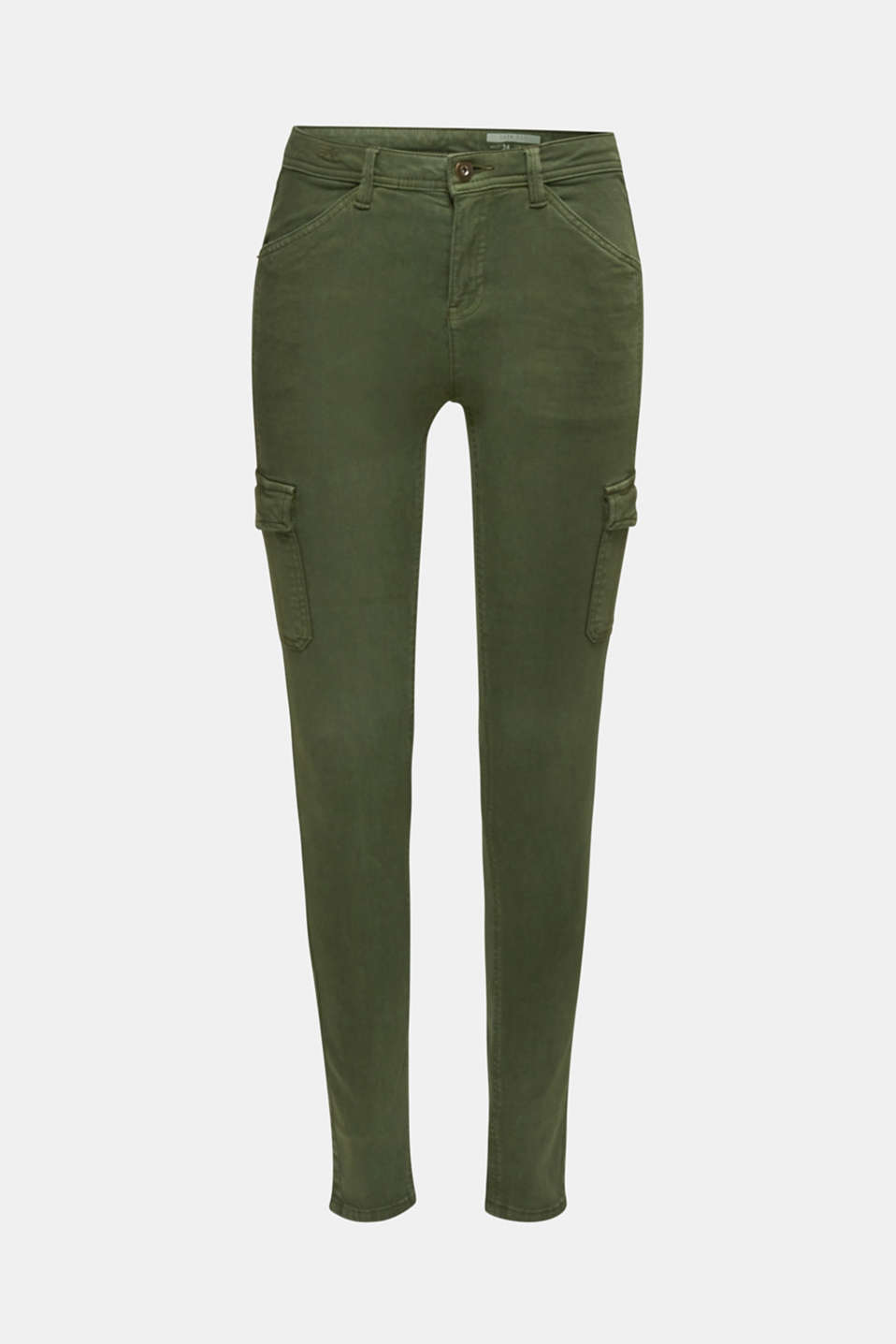 Stretch trousers with cargo pockets, DARK KHAKI, detail image number 7