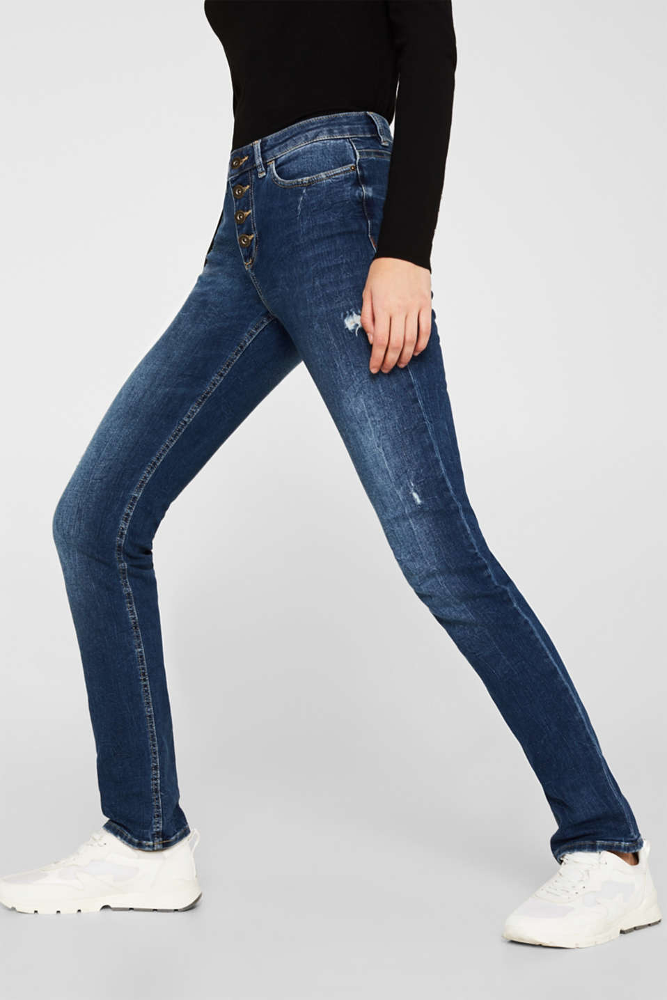 Stretch jeans with a button fly, BLUE MEDIUM WASH, detail image number 7