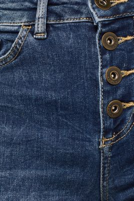 Stretch jeans with a button fly, BLUE MEDIUM WASH, detail