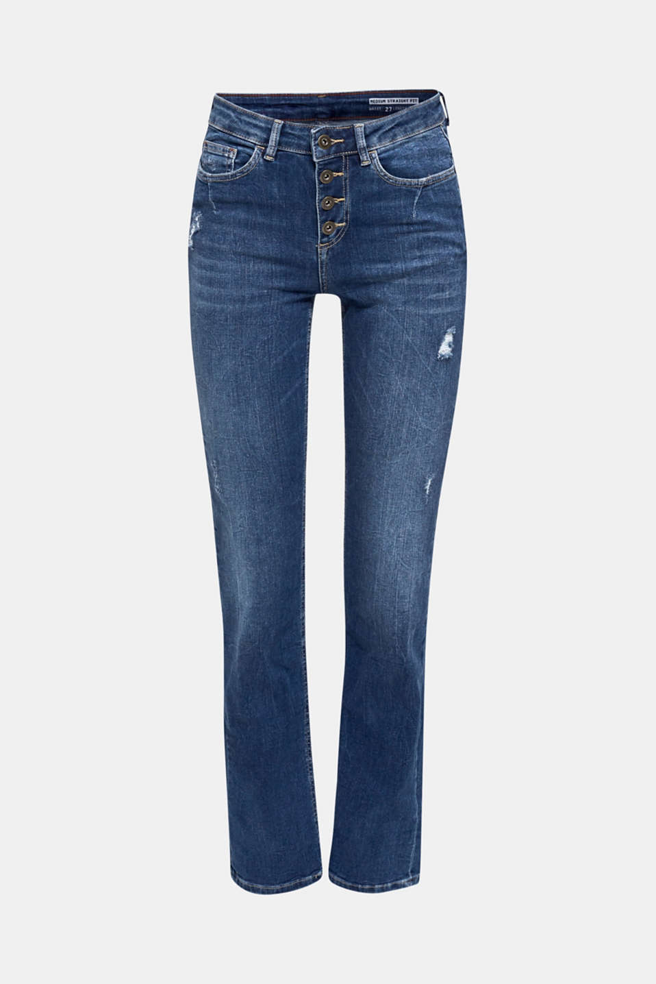Stretch jeans with a button fly, BLUE MEDIUM WASH, detail image number 8