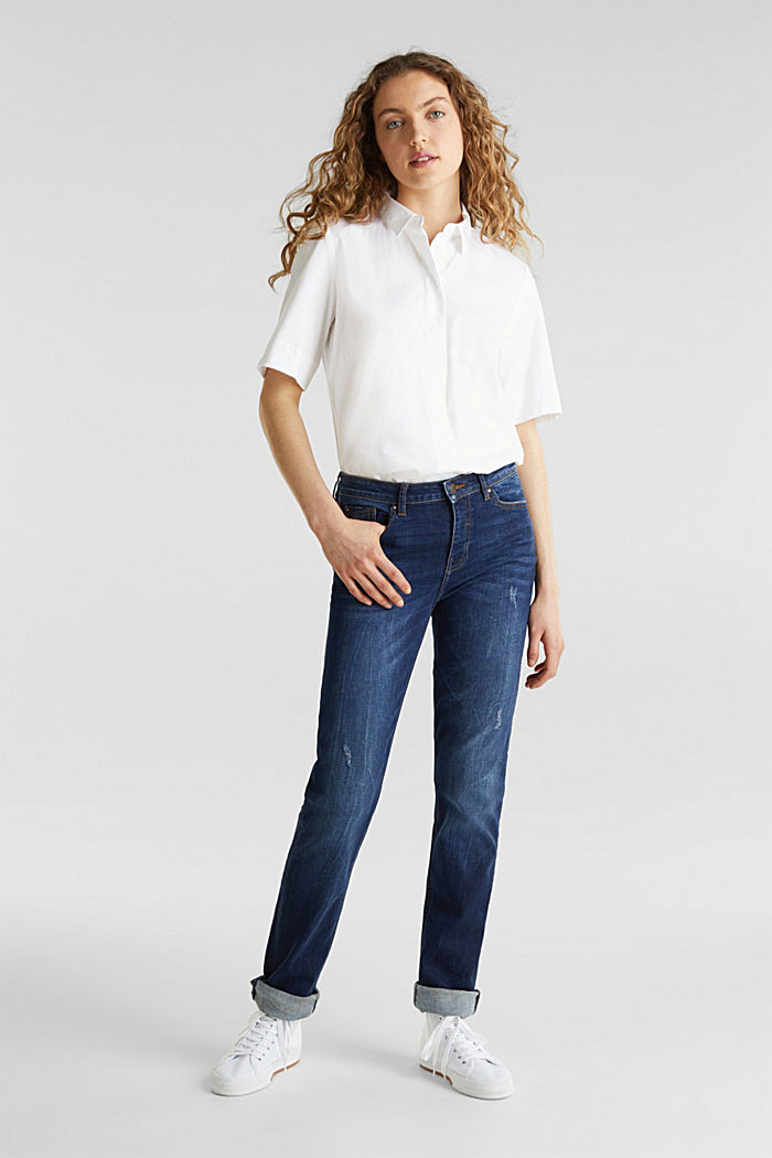 Stretch jeans with button-fastening flap pockets, BLUE DARK WASHED, detail image number 0