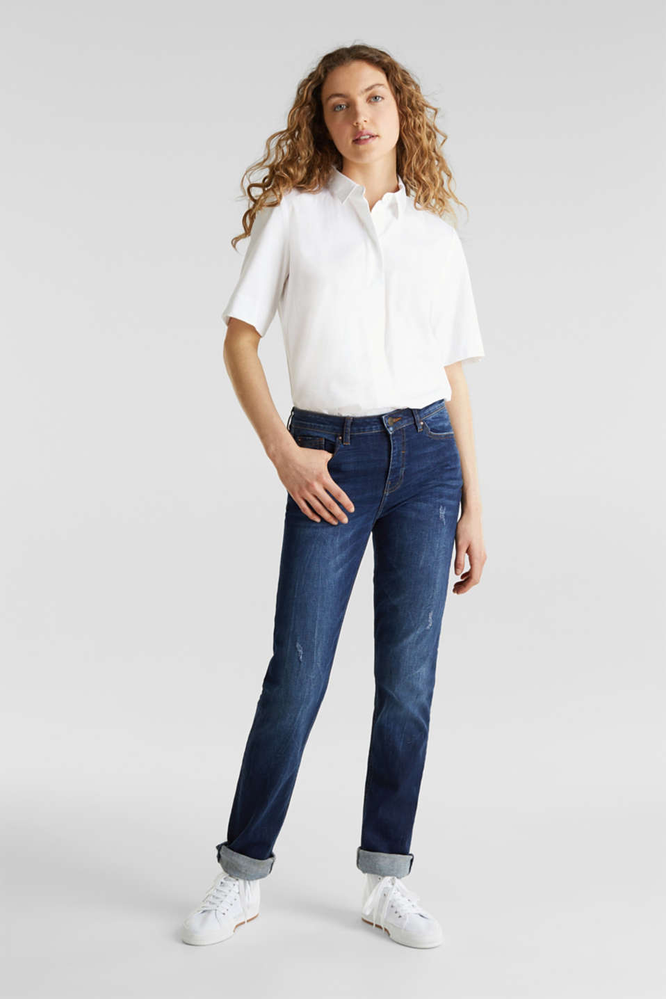 Stretch jeans with button-fastening flap pockets, BLUE DARK WASH, detail image number 0