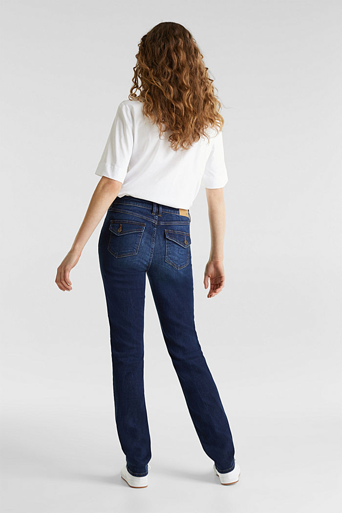 Stretch jeans with button-fastening flap pockets, BLUE DARK WASHED, detail image number 3