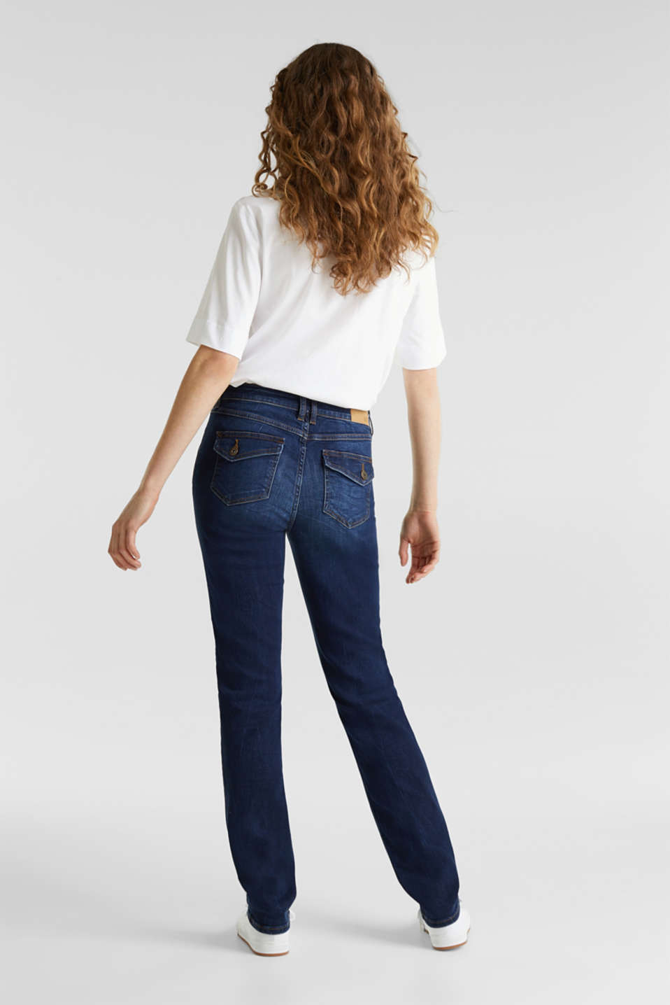 Stretch jeans with button-fastening flap pockets, BLUE DARK WASH, detail image number 3