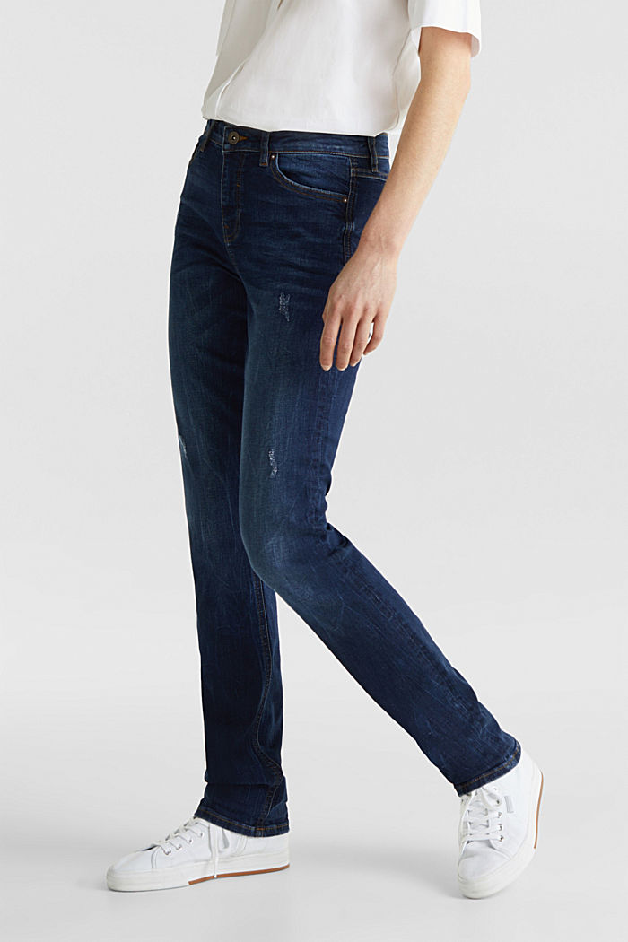 Stretch jeans with button-fastening flap pockets, BLUE DARK WASHED, detail image number 6