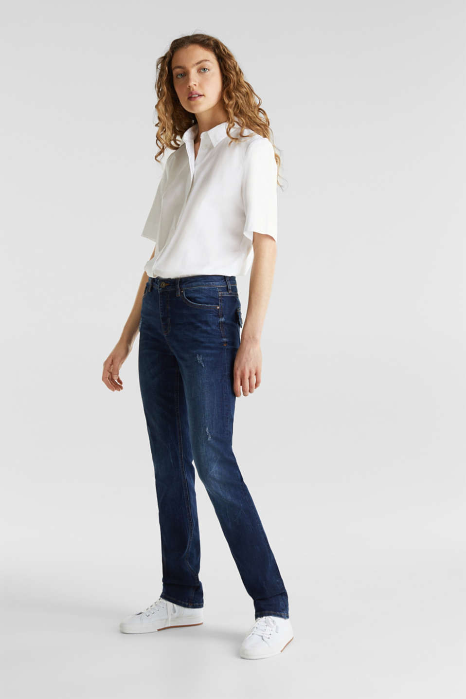 Stretch jeans with button-fastening flap pockets, BLUE DARK WASH, detail image number 1
