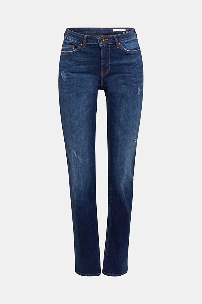 Stretch jeans with button-fastening flap pockets, BLUE DARK WASHED, overview