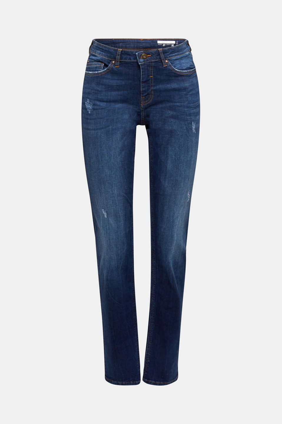Stretch jeans with button-fastening flap pockets, BLUE DARK WASH, detail image number 7