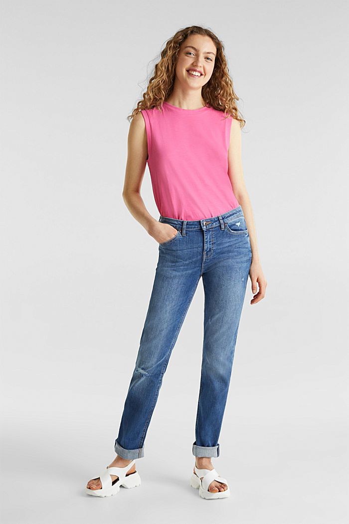 Stretch jeans with button-fastening flap pockets, BLUE MEDIUM WASHED, detail image number 1