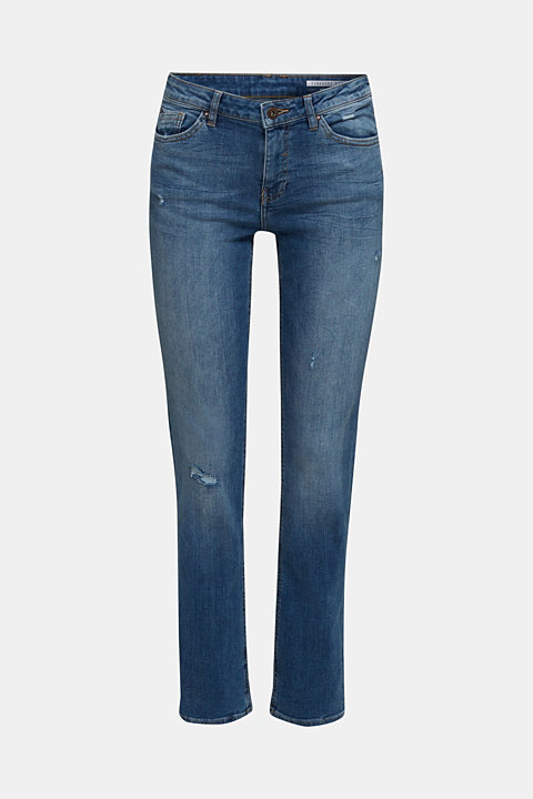 Stretch jeans with button-fastening flap pockets