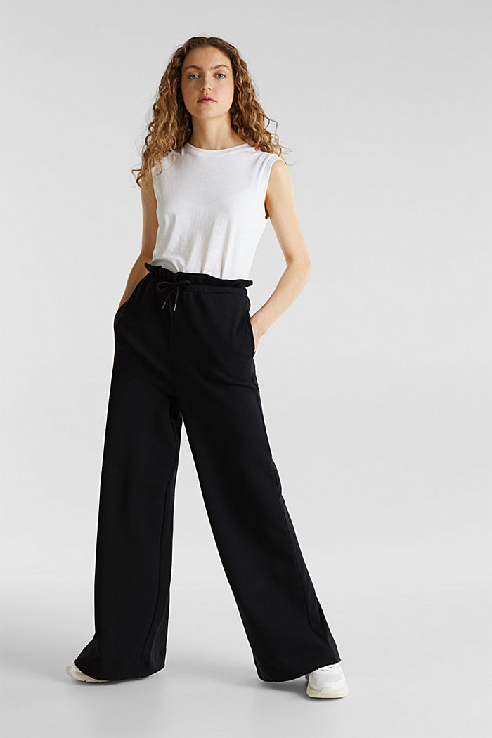 Wide high-rise trousers made of sweatshirt fabric, 100% cotton, BLACK, detail image number 0