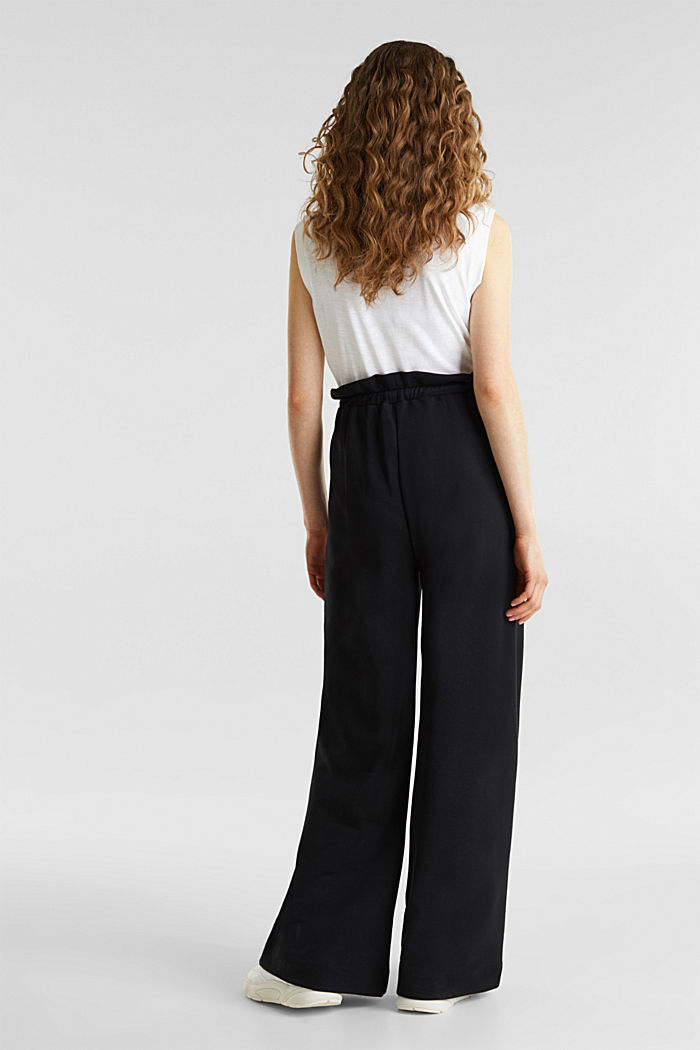 Wide high-rise trousers made of sweatshirt fabric, 100% cotton, BLACK, detail image number 3