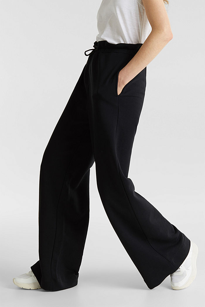 Wide high-rise trousers made of sweatshirt fabric, 100% cotton, BLACK, detail image number 6