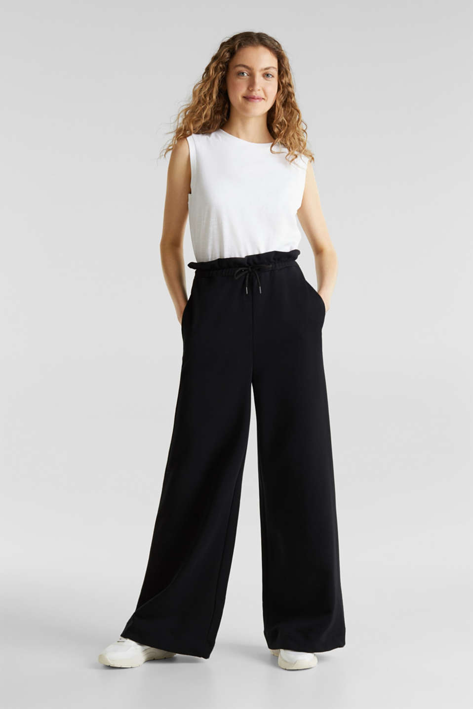 Wide high-rise trousers made of sweatshirt fabric, 100% cotton, BLACK, detail image number 1