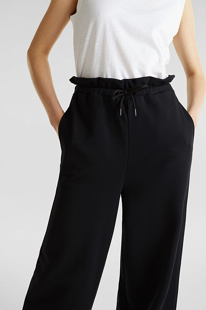 Wide high-rise trousers made of sweatshirt fabric, 100% cotton, BLACK, detail image number 2