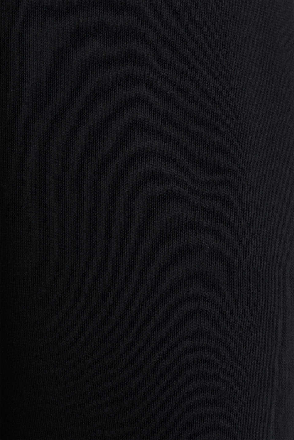 Wide high-rise trousers made of sweatshirt fabric, 100% cotton, BLACK, detail image number 4