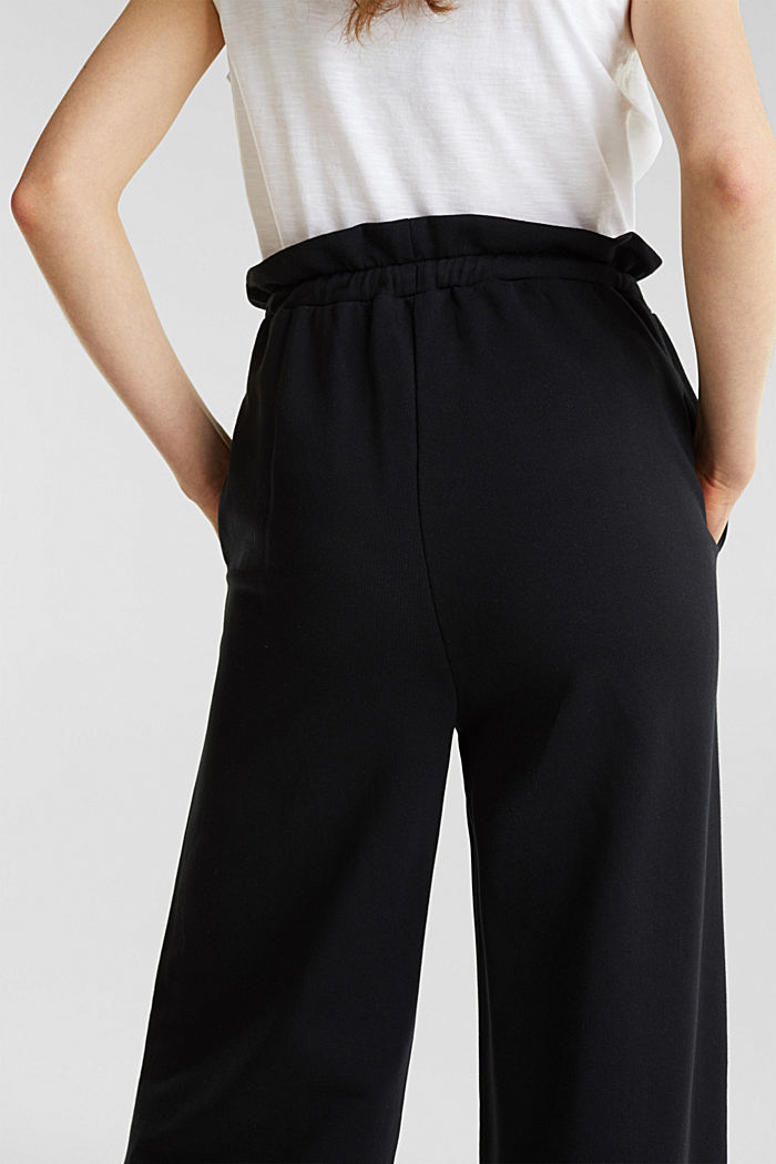 Wide high-rise trousers made of sweatshirt fabric, 100% cotton, BLACK, detail image number 5
