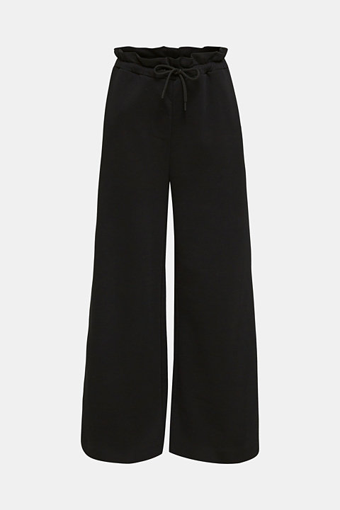 Wide high-rise trousers made of sweatshirt fabric, 100% cotton