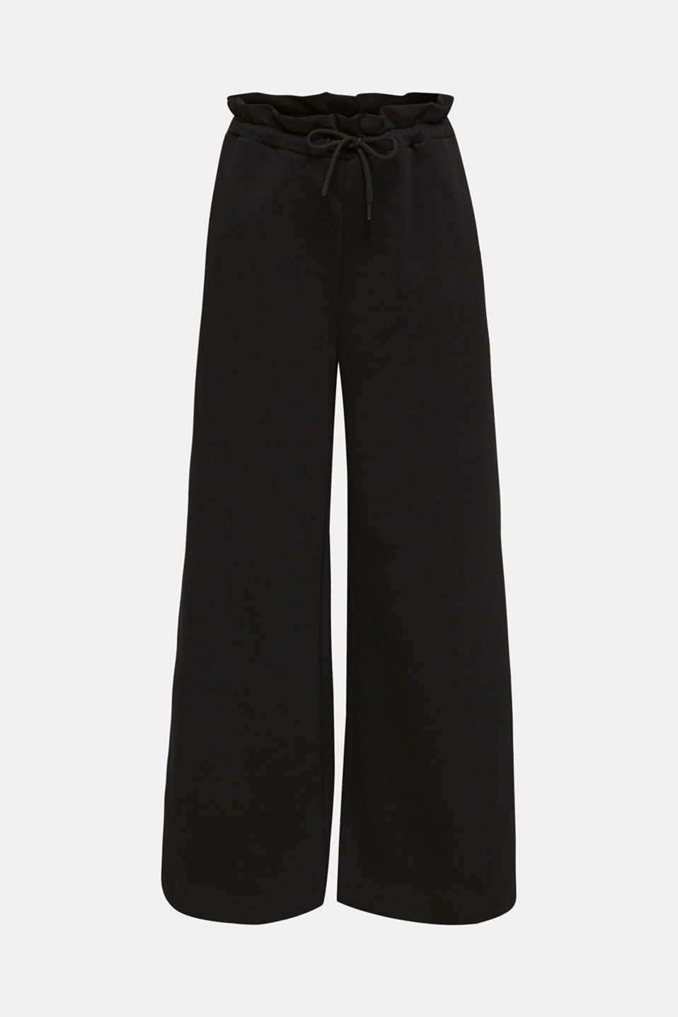 Wide high-rise trousers made of sweatshirt fabric, 100% cotton, BLACK, detail image number 7