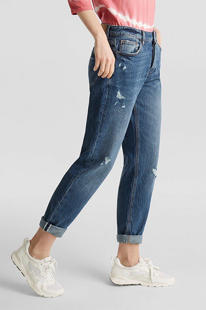 Utility jeans with a button fly, BLUE MEDIUM WASHED, detail image number 6