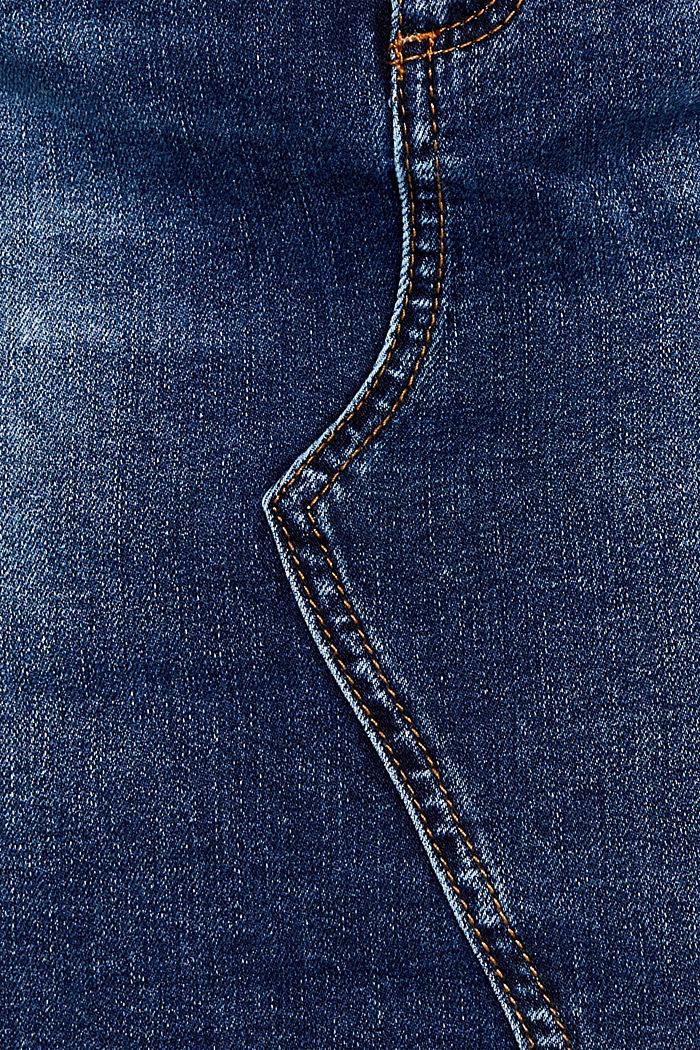 Gonna in jeans stretch effetto usato, BLUE DARK WASHED, detail image number 4