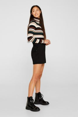 Stretch mini skirt with decorative stitching, BLACK, detail
