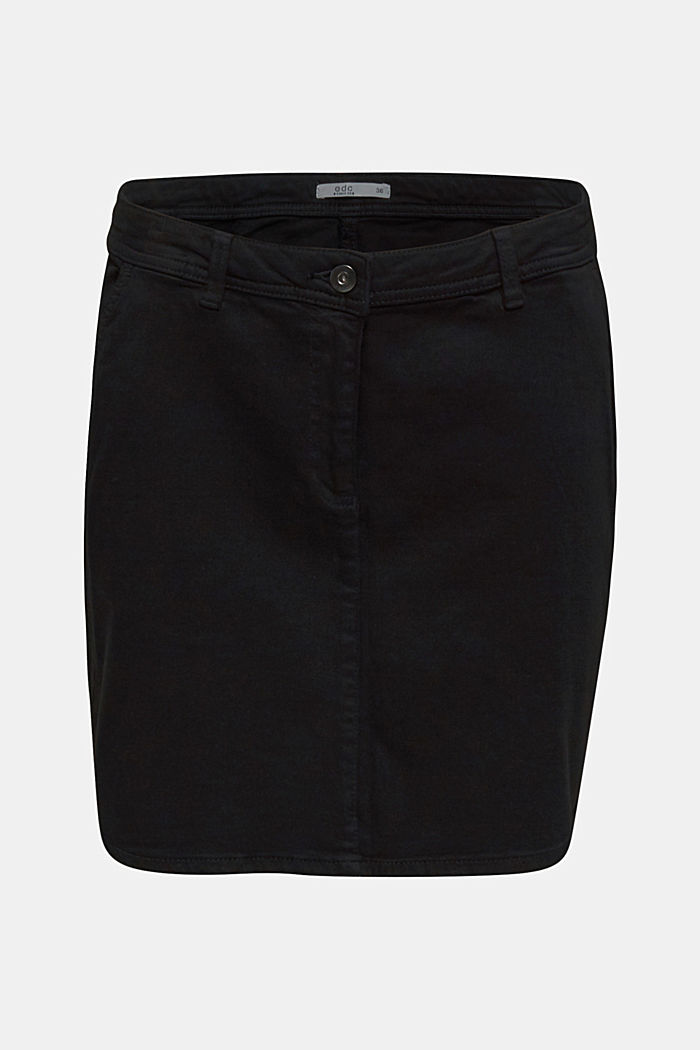 Stretch mini skirt with decorative stitching, BLACK, detail image number 5