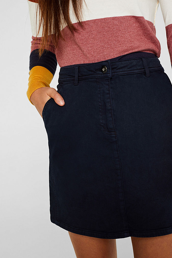 Stretch mini skirt with decorative stitching, NAVY, detail image number 2