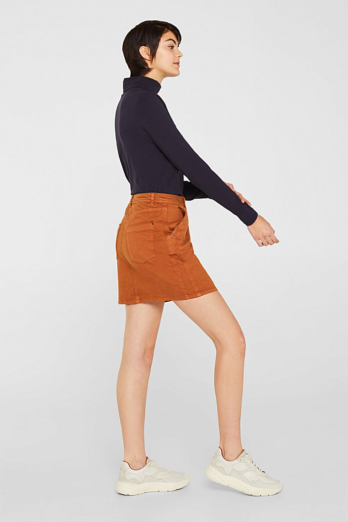 Stretch mini skirt with decorative stitching, CINNAMON, detail image number 4