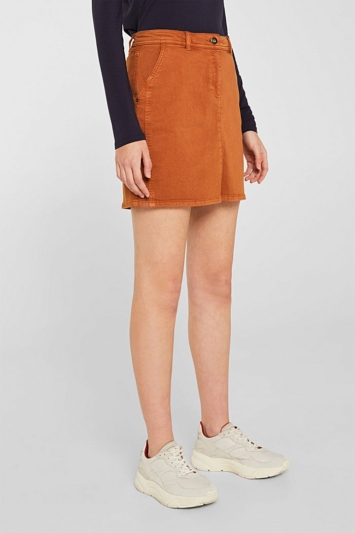 Stretch mini skirt with decorative stitching, CINNAMON, detail image number 6