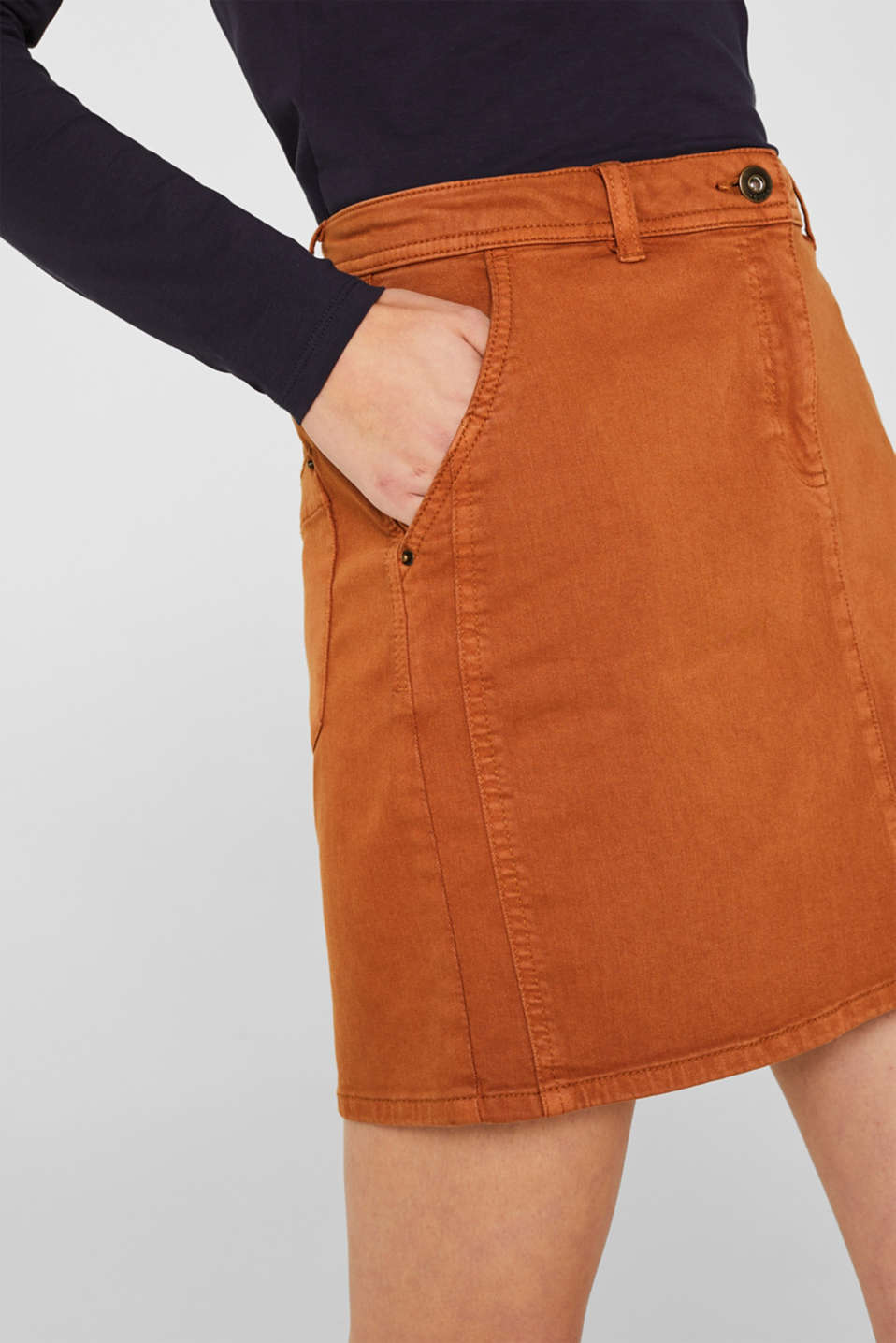 Stretch mini skirt with decorative stitching, CINNAMON, detail image number 2