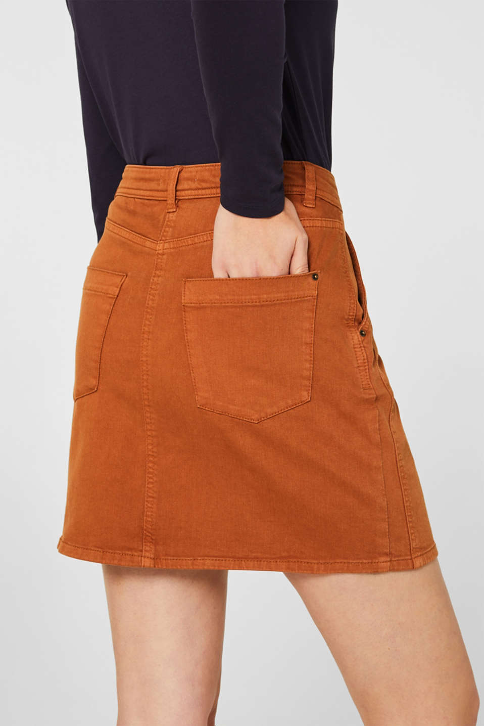 Stretch mini skirt with decorative stitching, CINNAMON, detail image number 5