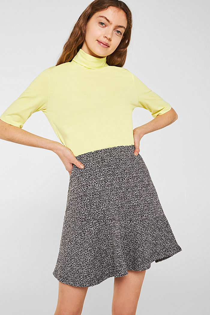 Stretch jersey skirt with a popcorn texture, BLACK, detail image number 0