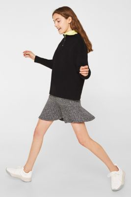Stretch jersey skirt with a popcorn texture, BLACK, detail