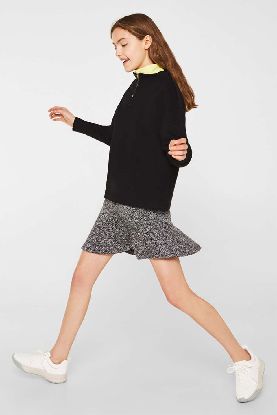Stretch jersey skirt with a popcorn texture, BLACK, detail image number 1