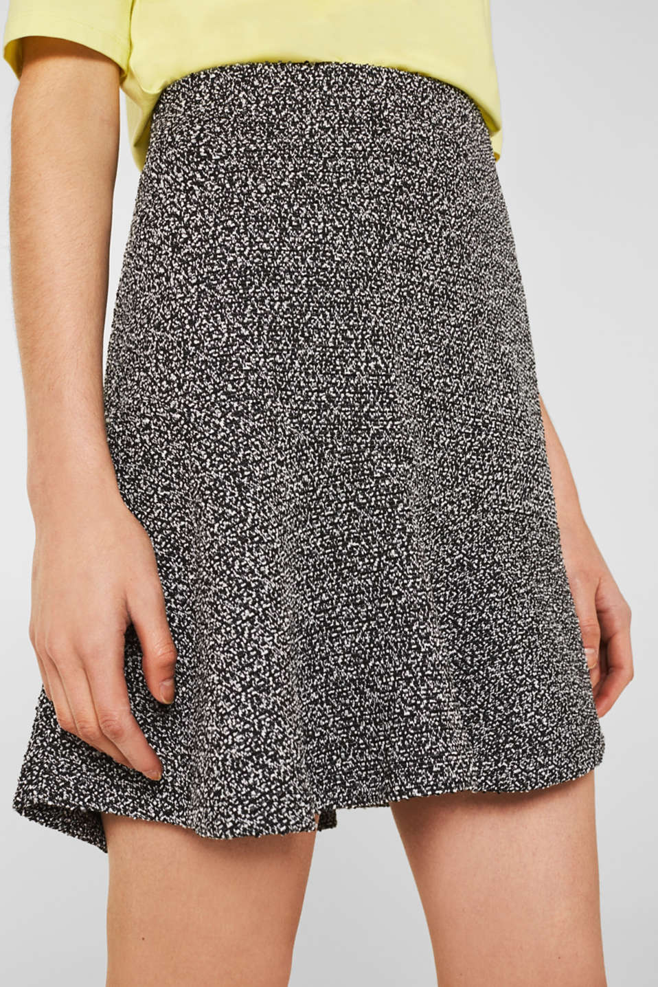 Stretch jersey skirt with a popcorn texture, BLACK, detail image number 2