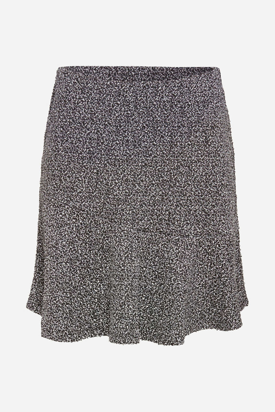 Stretch jersey skirt with a popcorn texture, BLACK, detail image number 5