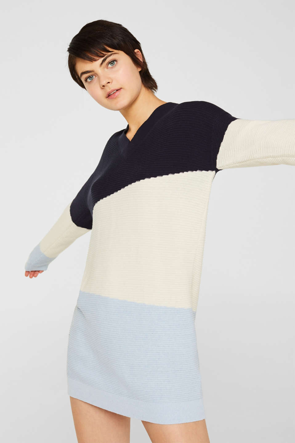 Knit dress with a ribbed texture, NAVY 2, detail image number 0
