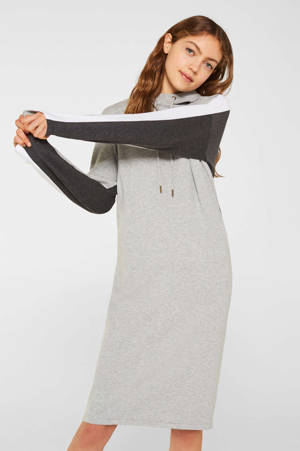 edc - Knitted colour block hoodie dress made of knit