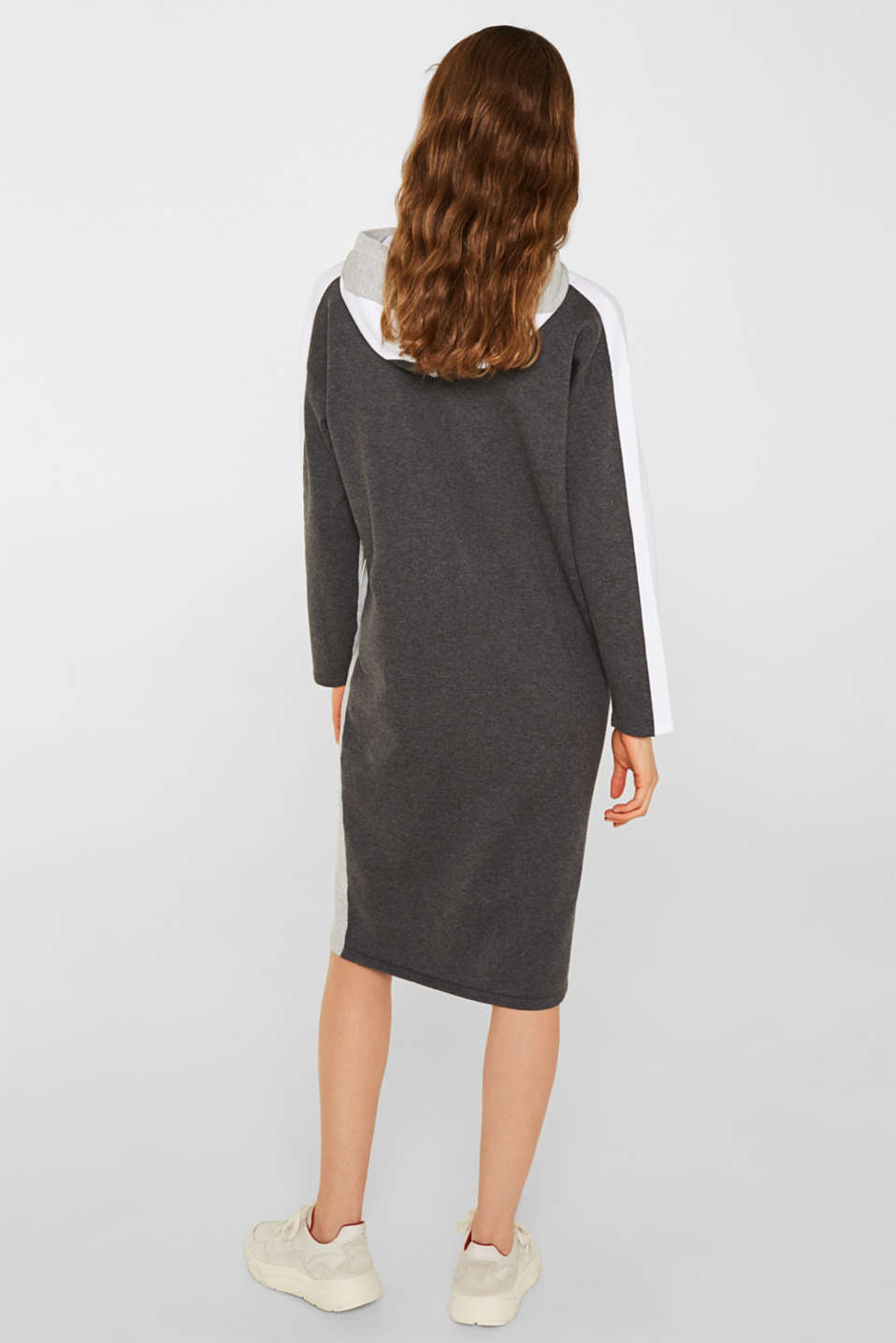 Knitted colour block hoodie dress made of knit, LIGHT GREY 4, detail image number 2