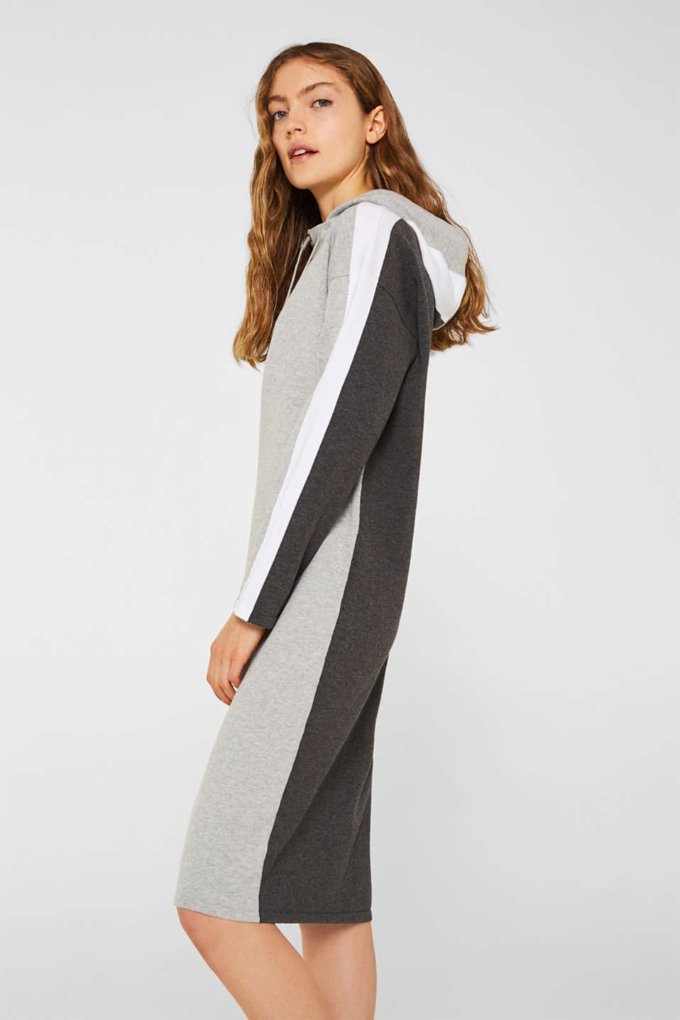 Knitted colour block hoodie dress made of knit, LIGHT GREY 4, detail image number 4