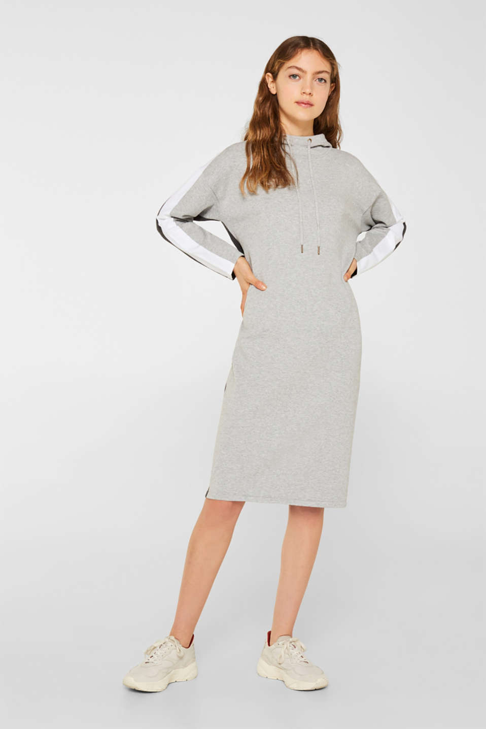 Knitted colour block hoodie dress made of knit, LIGHT GREY 4, detail image number 1