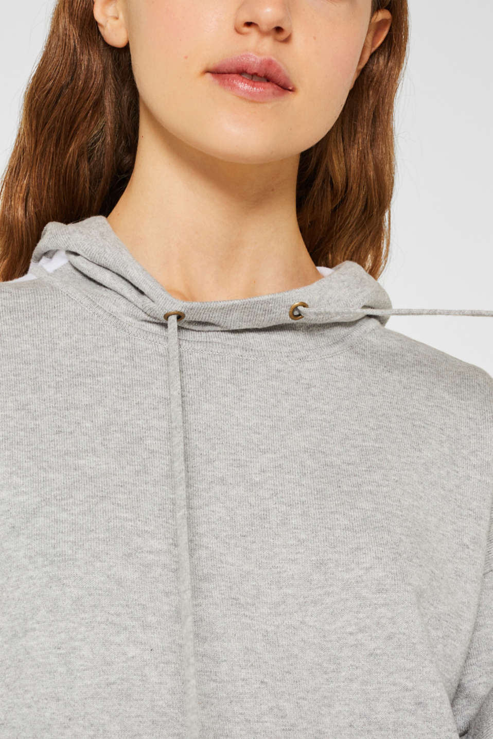 Knitted colour block hoodie dress made of knit, LIGHT GREY 4, detail image number 3