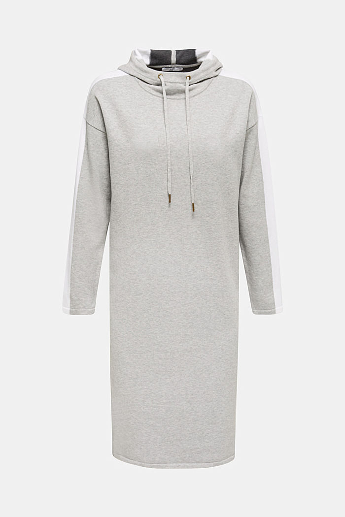 Knitted colour block hoodie dress made of knit, LIGHT GREY, overview