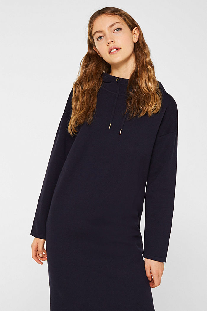 Knitted colour block hoodie dress made of knit, NAVY, detail image number 0