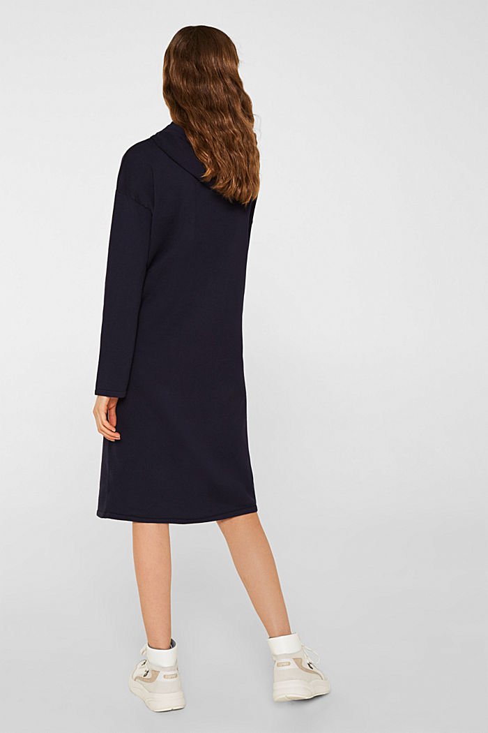 Knitted colour block hoodie dress made of knit, NAVY, detail image number 2